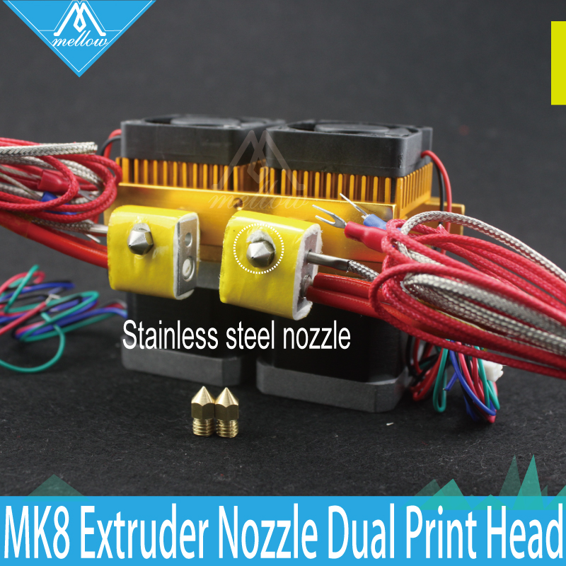 3D Printer Head Latest Upgrade MK8 Extruder Stainless steel Nozzle kit 0.4mm Dual Print Head Makerbot i3 + Brass Nozzl 3d printer head latest upgrade mk8 j