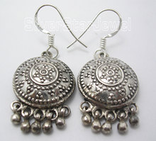 Silver Plain ETHNIC Dangle Earrings 3.9CM