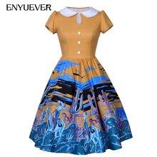 Enyuever Autumn 2017 Vintage Dresses 50s 60s Western Cowgirl Horse Print Rockabilly Dress Swing Party Casual Vestidos Feminino
