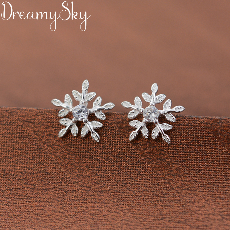 DreamySky Real Pure 925 Sterling Silver Crystal Snow Earrings For Women Fashion Wedding Christmas Jewelry Pendientes Brincos