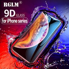 RGLM 9D Protective Glass for iPhone 7 Screen Protector iPhone 8 Xr Xs Xs Max Tempered Glass on iPhone X 6 6s 7 8 Plus Xs Glass цена
