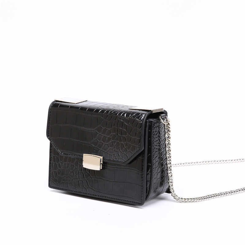 Bolsas femininas 2018 imitação de pele de crocodilo em relevo bolsa crossbody retro brilhante corrente pequena praça bolsa feminina