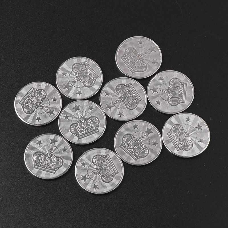 10pcs 25*2mm Game Token Stainless Steel Arcade Game Coin Pentagram Crown Tokens