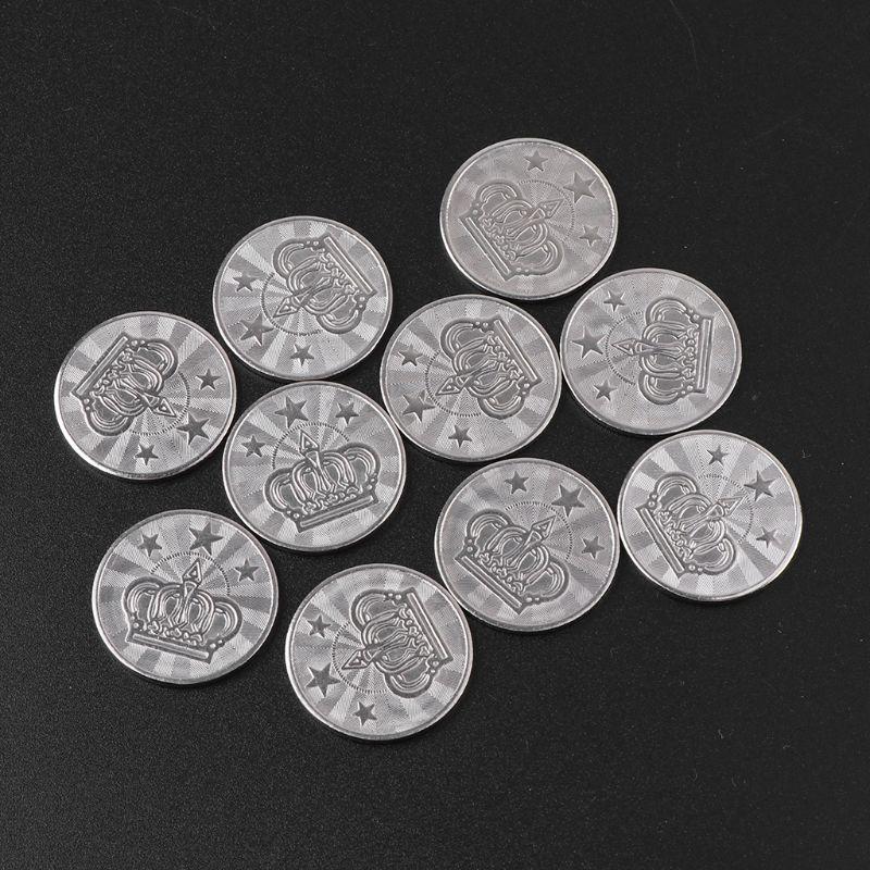 Jogo de token de jogo 25*2mm, brinquedo de arcade de aço inoxidável de moedas, pincel de coroa, 10 peças