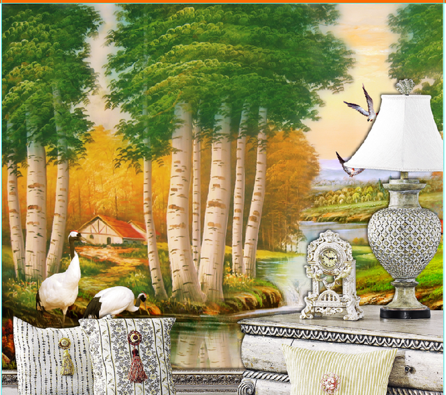 Eco-friendly LG embossed tree wallpaper Tv sofa background wall paper murals fashion classic scenery oil painting