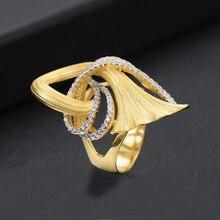 SISCATHY Unique Design Trendy Ring Romantic Women Cubic Zirconia Party Jewelry Bridal Engagement Wedding Dubai Gold Finger Rings