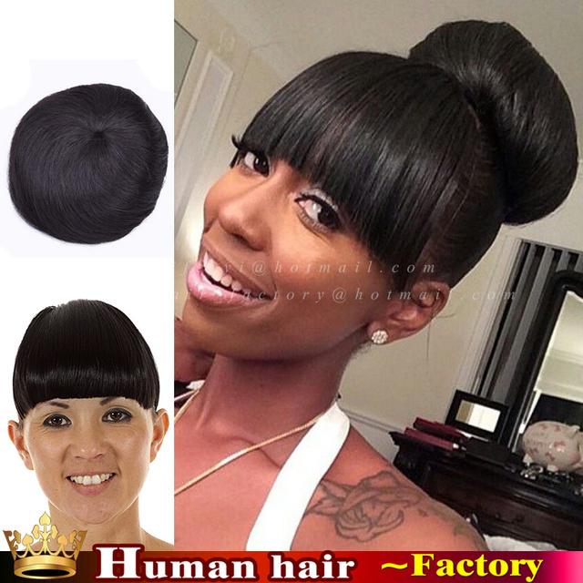 Brazilian Virgin Clip In Human Real Hair Fringe Chignon Hairpiece On Clips Bun