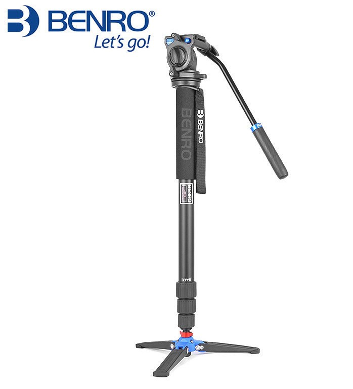 Benro A38TDS2 Series 3 Aluminum Monopod W/ 3-Leg Locking Base And S2 Video Head