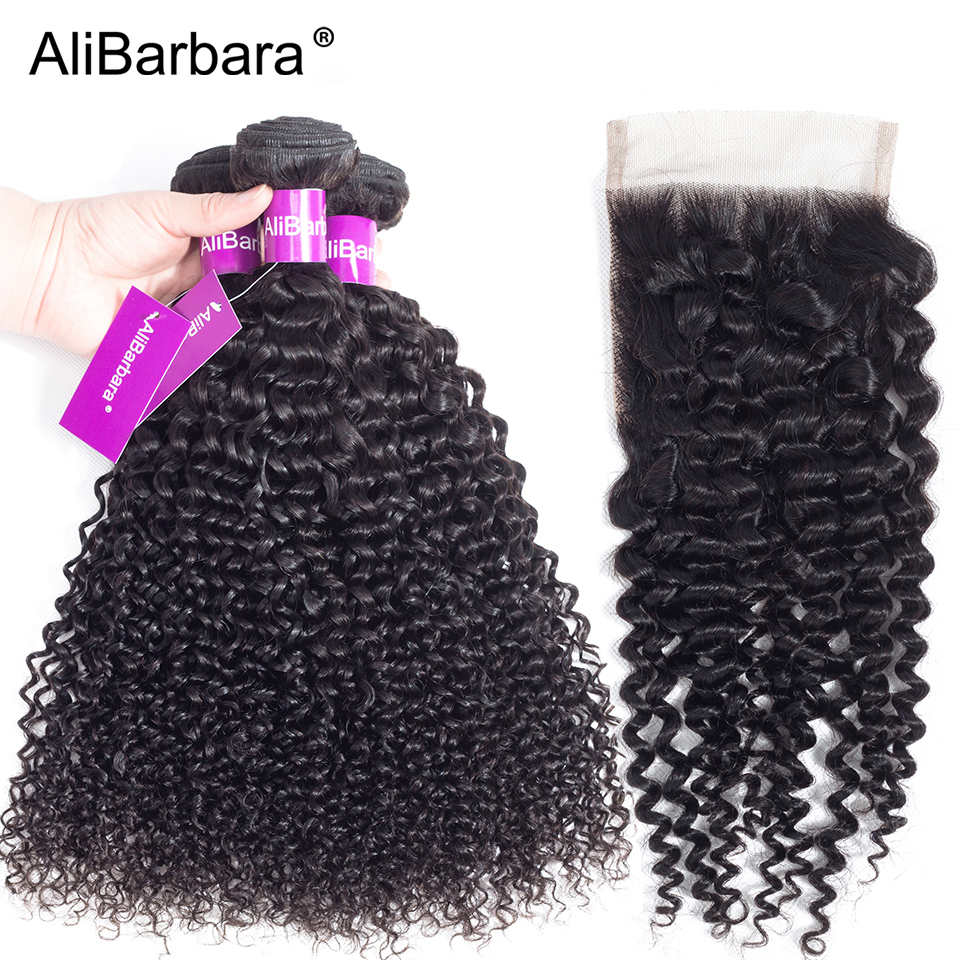 AliBarbara Hair Peruvian Afro Kinky Curly Human Hair Bundles with Closure Free part 4X4 Swiss Lace 1B Remy Hair Weave Extension