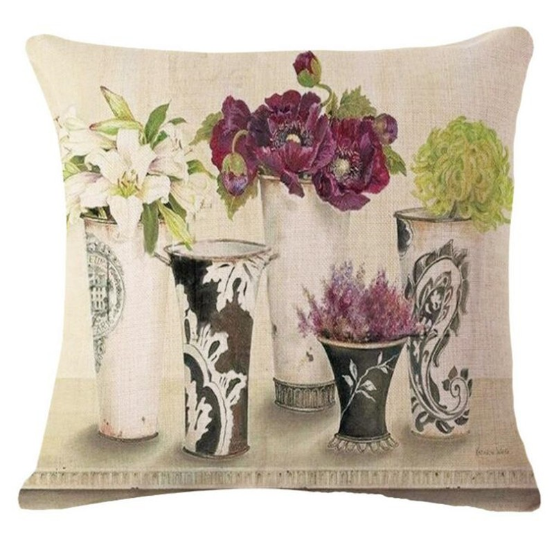 High Quality Country Style Retro Flower Vase Home Decorative Cushion Cover  Sofa Throw Pillow Square Cojines