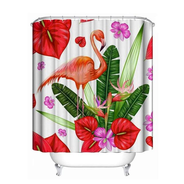 Flamingo Shower Curtain 3d Digital Plant Flamingos Waterproof Baby
