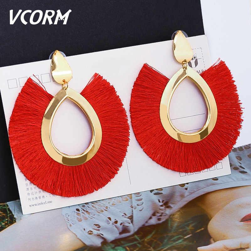 VCORM bohème gland grande goutte boucles d'oreilles pour les femmes mode bijoux boucles d'oreilles 2019 luxueux coton soie tissu frange boucle d'oreille .....