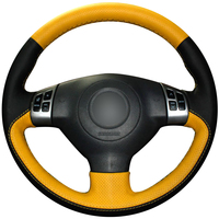 Black Yellow Leather DIY Car Steering Wheel Cover for Suzuki Swift (Multifunction button version)