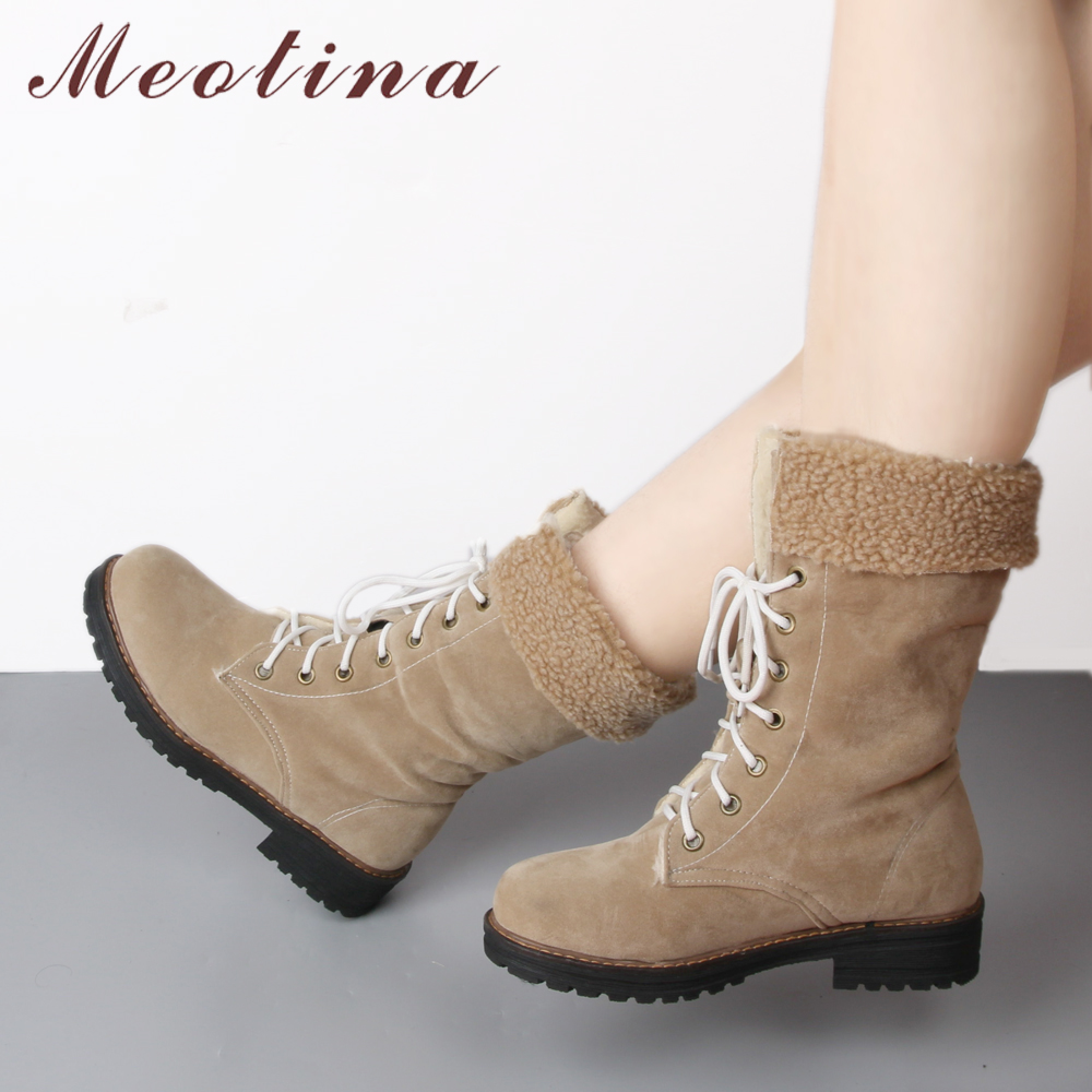 Meotina Winter Snow Boots Women Platform Mid Calf Boots Lace Up Square Heel Boots Flat Plush Warm Female Shoes Black Beige laconic women s mid calf boots with lace up and chunky heel design