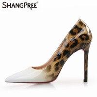 2017 New Fashion Sexy Women High Quality Leopard Gradual Women Pumps Pointed Toe Thin High Heels