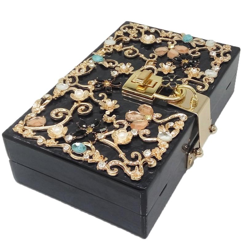 6e06d68033 Boutique De FGG Light Blue Women Acrylic Box Clutch Bag Flower ...