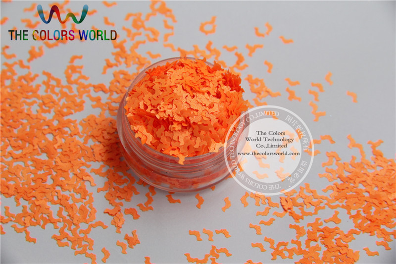 N-6 Size :5mm  Solvent Resistant Neon Orange color Glitter Bat  shape spangles for Nail Art  and DIY supplies1pack=50g dn2 39 mix 2 3mm solvent resistant neon diamond shape glitter for nail polish acrylic polish and diy supplies1pack 50g