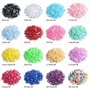 Image 1 - Contas de pérolas para fazer jóias, 1000 pçs/saco coloridas redondas, meia pérola, para fazer jóias, costura, plástico abs, pérola beads2mm/3mm/4mm/5mm/6mm/8mm