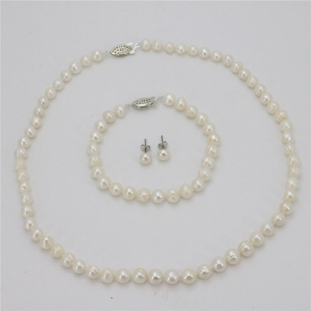 2018 New 7 8mm Real White Cultured Pearl Necklace Bracelet Earring Sets Women Jewelry