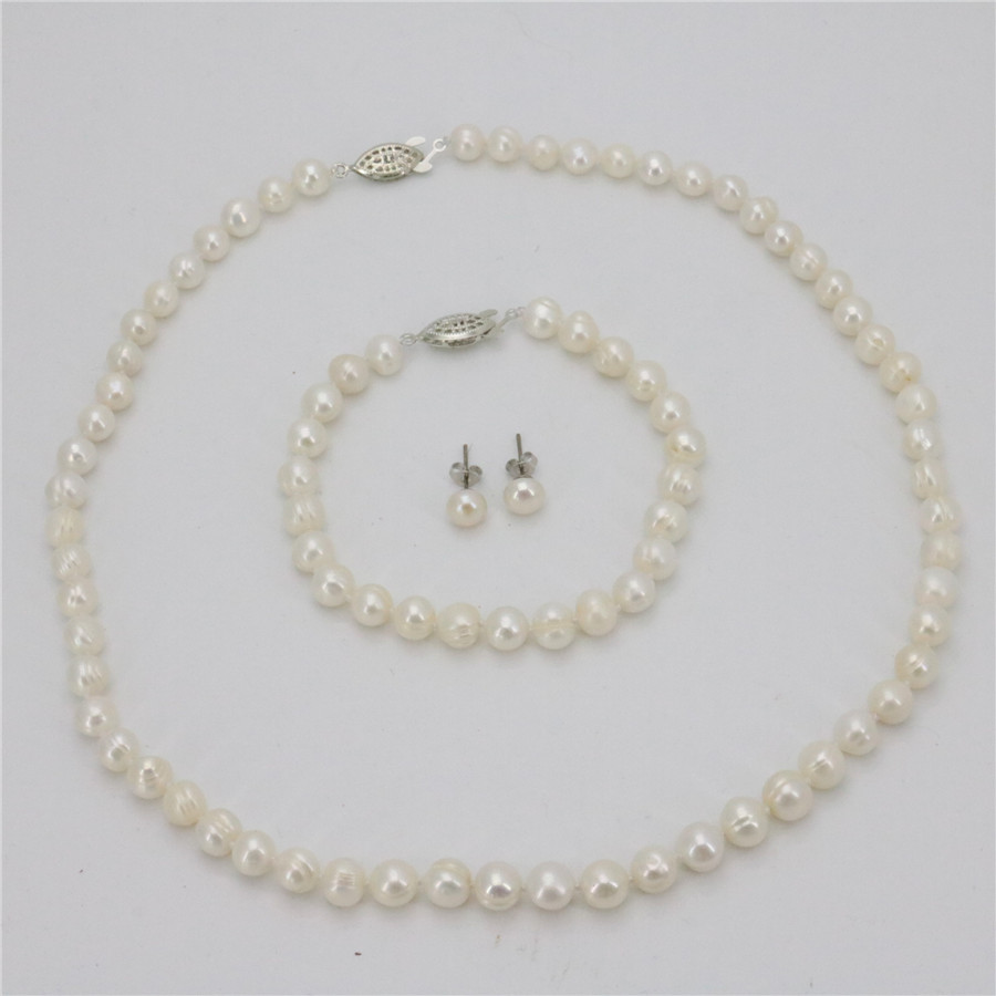 2019 Baru 7-8mm Real White Cultured Pearl Necklace Gelang Earring Set wanita Set Barang Kemas Manik Batu Asli MY4289 Wholesale