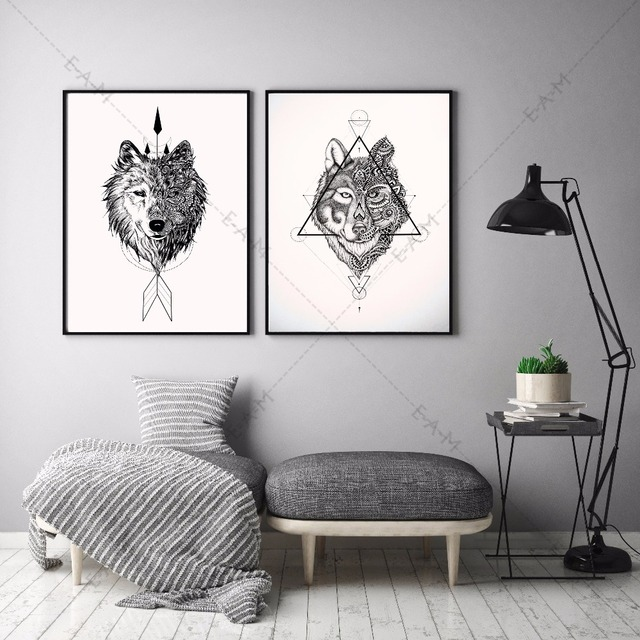 Native Indian Wolf Canvas Art Print Painting Poster Wall Pictures For Living Room Home Decorative Bedroom