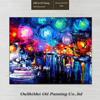 Knife Canvas Oil Painting for Room Wall Decor Handmade Abstract Starry Sky Landscape Wall Art Paintings Hang Picture