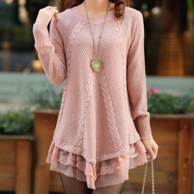 Slimming Sweater Coat Pullover Clothing Lace Loose Thickening Autumn Winter Women's Casual