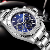 LOREO Diving 200M Sports Watch Men The outer ring can be rotated Man Business Automatic Mechanical Steel Clock Male watches 2019