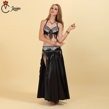 Belly Dance Costume Performance Oriental Belly Dancing Clothes  Set Black 3 pieces Bra Belt Skirt Tassel bead 2018 performance belly dancing egyptian costumes oriental dace bra belt skirt belly dance 3pcs costume set