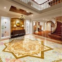 Custom Wallpapers Romantic Pattern Parquet Marble Flooring 3D Self Adhesive PVC Wear Floor Tiles Papel De