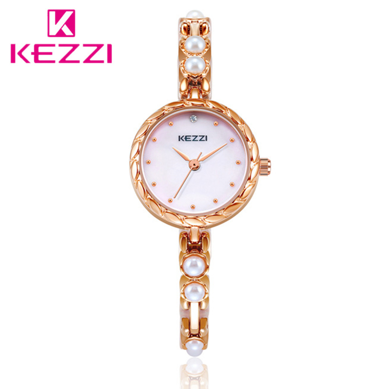 Kezzi Luxury Crystal Pearl Bracelet Watch Women Fashion Rose Gold Stainless Steel Ladies Quartz Wrist Watches Relogio Feminino цена