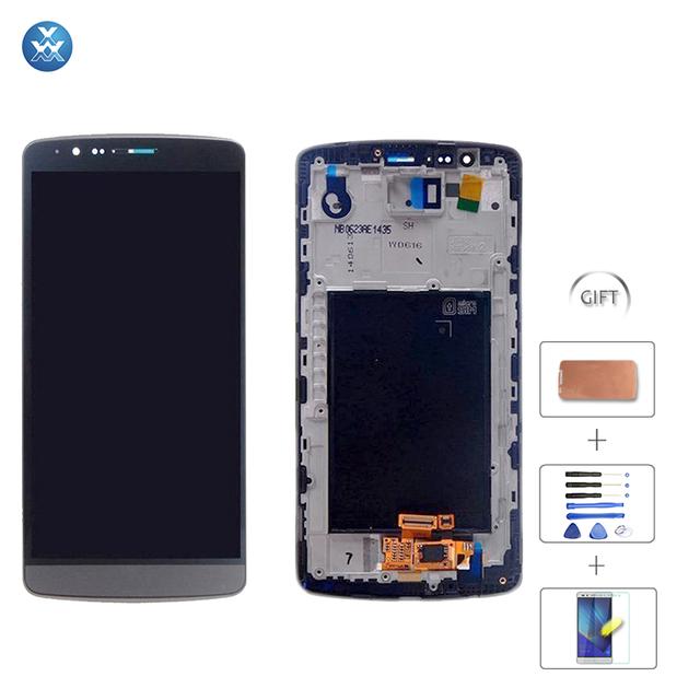 Blanco Gris Pantalla Lcd Para LG D855 G3 D850 Lcd Asamblea de Pantalla Táctil Con Digitalizador De Vidrio Con Marco de Reemplazo herramientas