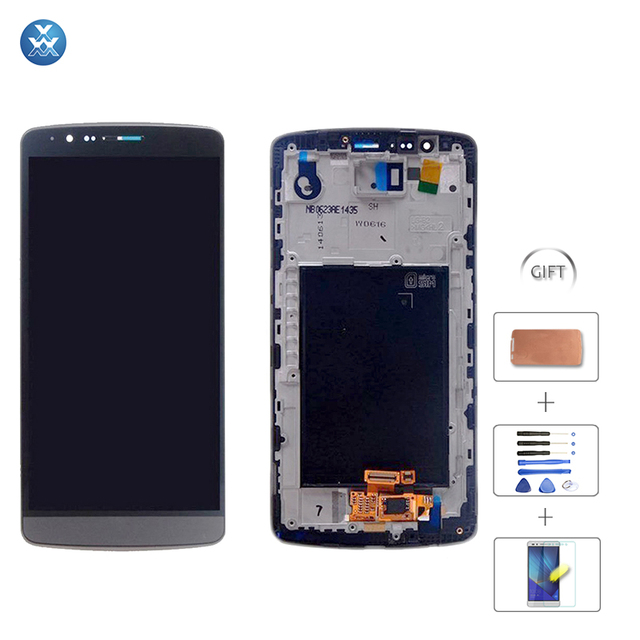 White Grey Lcd Screen For LG G3 D855 D850 Lcd Display Touch Screen Assembly With Digitizer Glass With Frame Replacement Tools