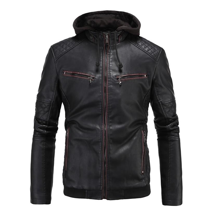 New Sweatshirt PU Patchwork Hoodie Mens Tracksuits Zipper Jackets Crewnecks Solid Black Sweatshirts Moleton plus size 4XL