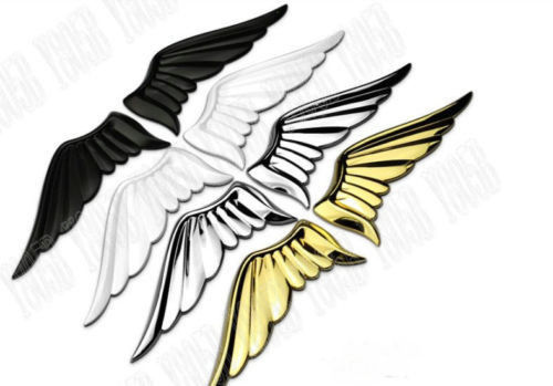 Car motorcycle metal emblem badge decal sticker angle eagle wing 3d logo chrome black