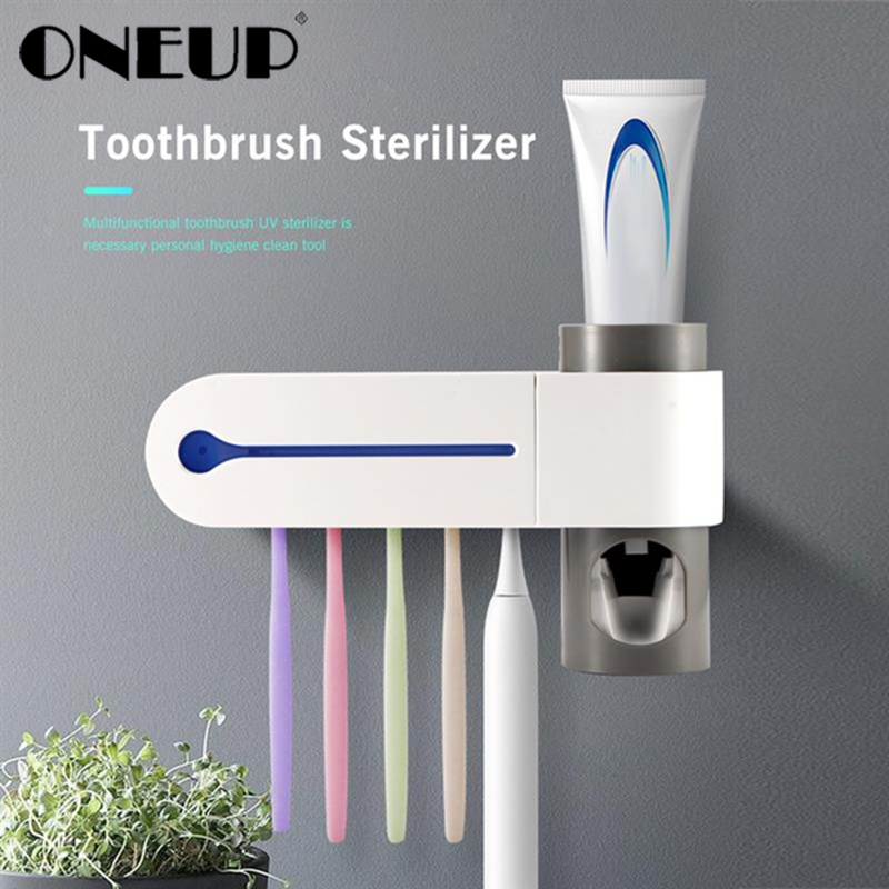 ONEUP Antibacteria Ultraviolet Toothbrush Holder Sterilizer Automatic Toothpaste Dispenser Squeezer Bathroom Accessories Set