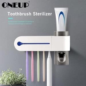 ONEUP Antibacteria Ultraviolet Toothbrush Holder Sterilizer Automatic Toothpaste Dispenser Squeezer Bathroom Accessories Set(China)