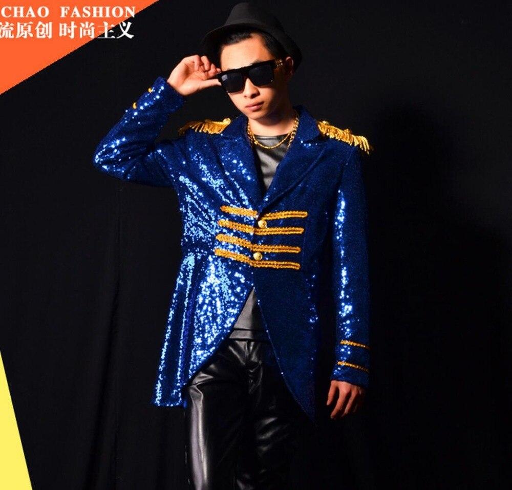 M 4xl 2020 Männer Kleidung der Mode Gericht Wind Blau Pailletten Anzug Mantel Sänger Bühne Kostüme Männer Plus Größe Leistung Kleidung - 3