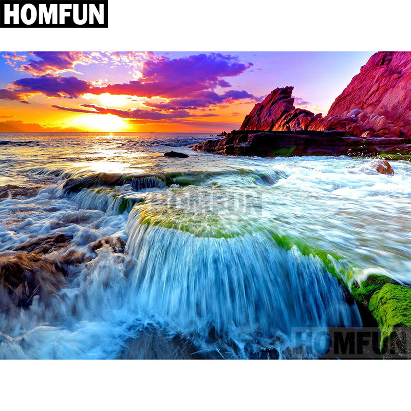 Needle Arts & Crafts Contemplative Homfun Full Square/round Drill 5d Diy Diamond Painting sunset Waterfall Embroidery Cross Stitch 5d Home Decor Gift A02073 Attractive And Durable Arts,crafts & Sewing
