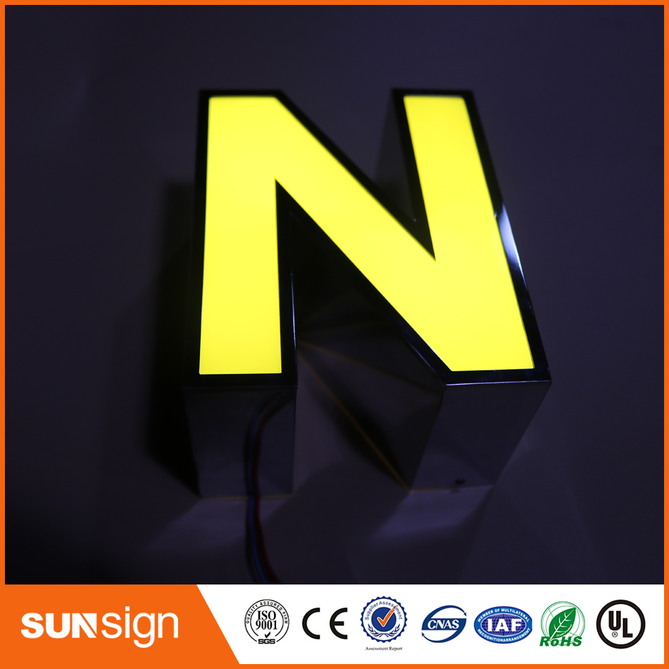 Polished Stainless Steel Return Front Light Sign