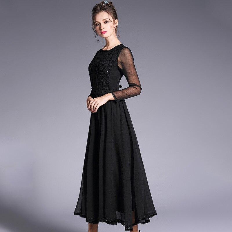 2018Spring ladies beautiful long dress big bottom sequin elegant cultivating party dress longos vestido de festa