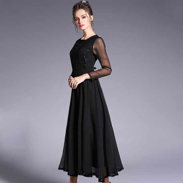2018Spring ladies beautiful long dress big bottom sequin elegant  cultivating party dress longos vestido de festa plus size S-5XL cda6fcd4b583