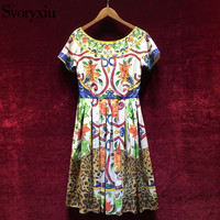 Svoryxiu High Quality Cotton Dress Women S Short Sleeve Color Animal Print Vintage Runway Knee Length