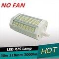 Novo design 30 w levou R7S luz 118mm sem Ventilador de refrigeração pode ser escurecido lâmpada R7S J118 R7S luz de alimentos 3 anos de garantia AC110-240V