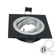 Square Aluminum Black swiveling spotLight mounting Frame Made of cast with GU10 Mr16 Lamps Base Socket Cut Hole 90cm