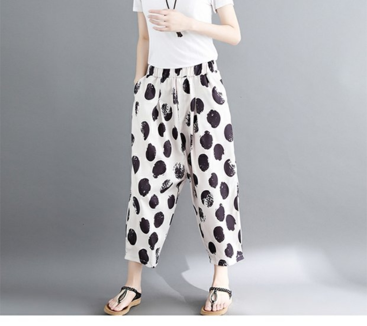 women white and black dot harem pants 2018 summer new loose fashion high-waist button fly female trousers pant 9