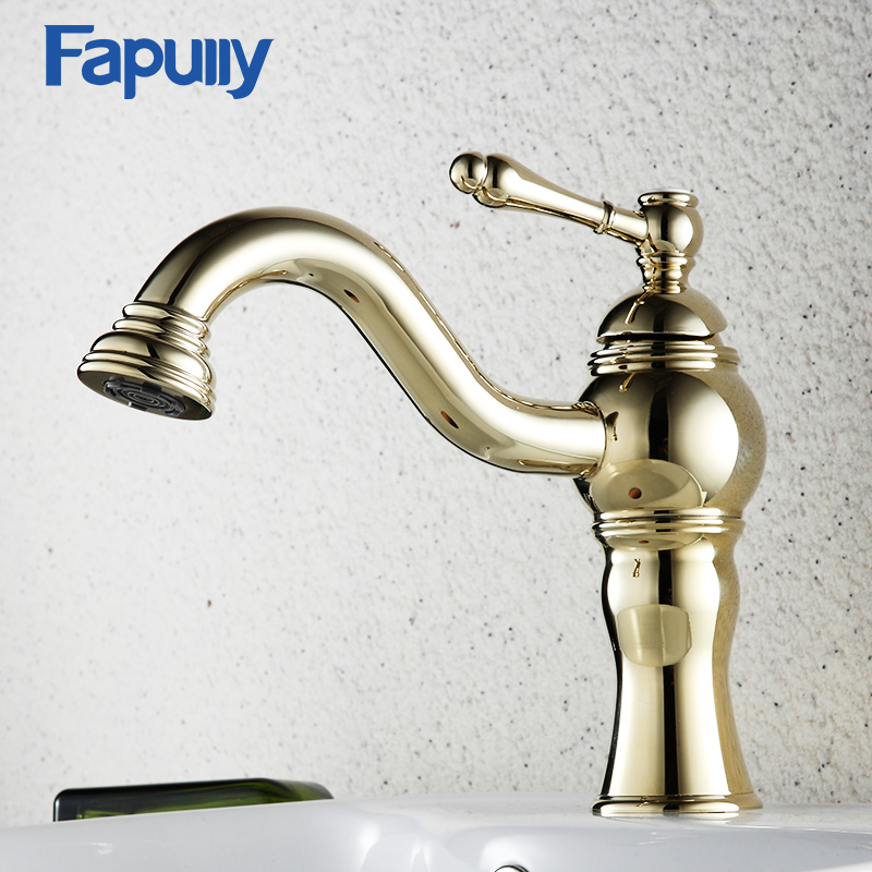 Fapully Bathroom Faucet Sink Tap Gold Bathroom Vanity Single Handle Hot Cold Water Mixer Tap Basin Faucet ceramic single handle bathroom vanity sink mixer tap chrome finished