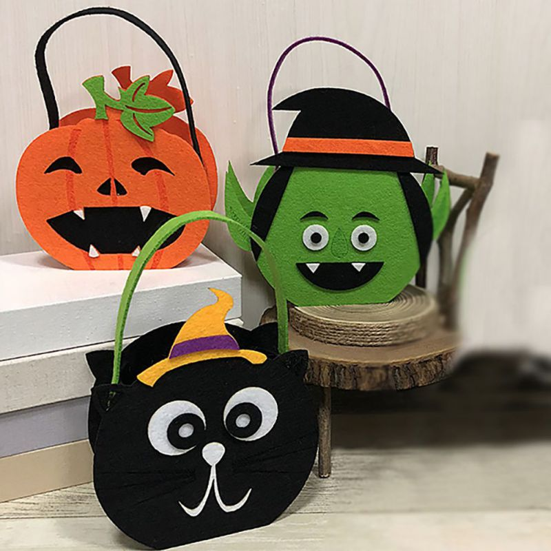 Halloween Style Children Candy Bag Pumpkin Ghost Pattern Decor Ornaments Halloween Cookies Gift Bag Decor Holiday Supplies