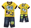 Summer Kids/Children Spongebob Clothing Sets T shirt+ Jeans Shorts Cotton Clothes/Vetement/Conjunto/Roupas For Boys/Enfant/Baby