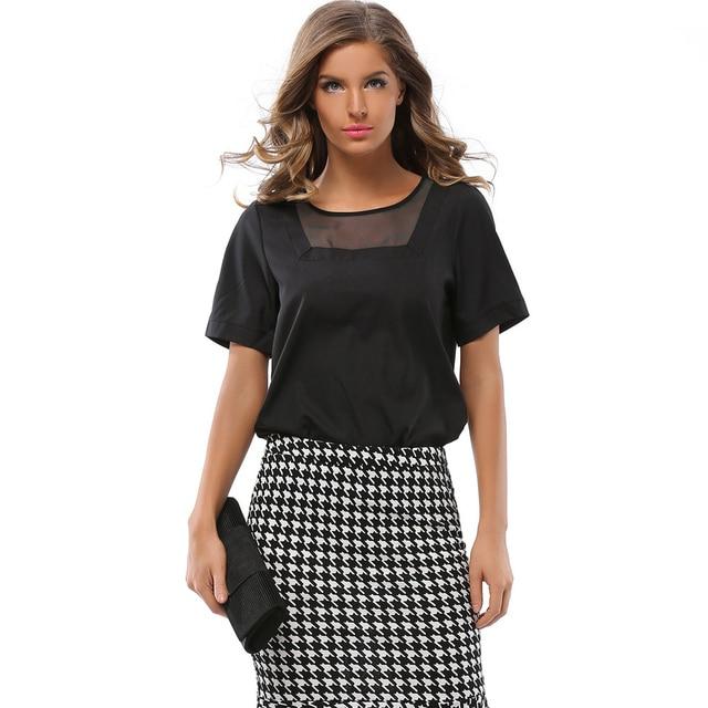 las de verano manga moda de corta hilados modernas blusas Diseño damas niñas de blusas occidental patchwork vogue de mujeres camisas de gasa AId1vqwvnx